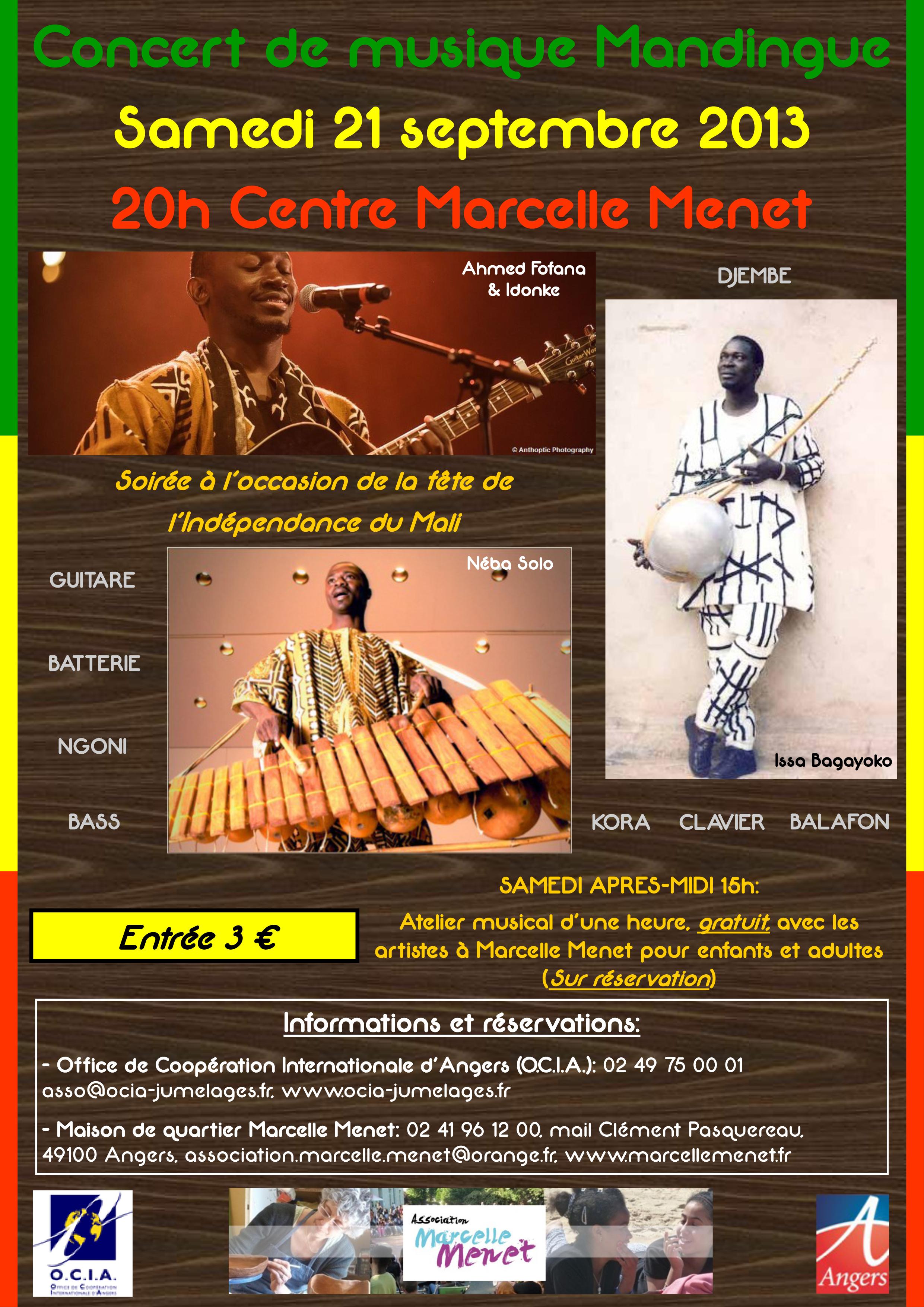 Concert de musique mandingue à Angers, Maine-et-Loire