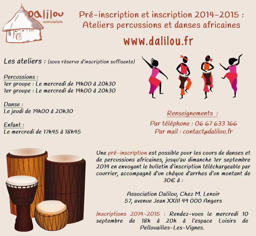 Pré-inscription percussions et danses africaines pour l'année 2014-2015