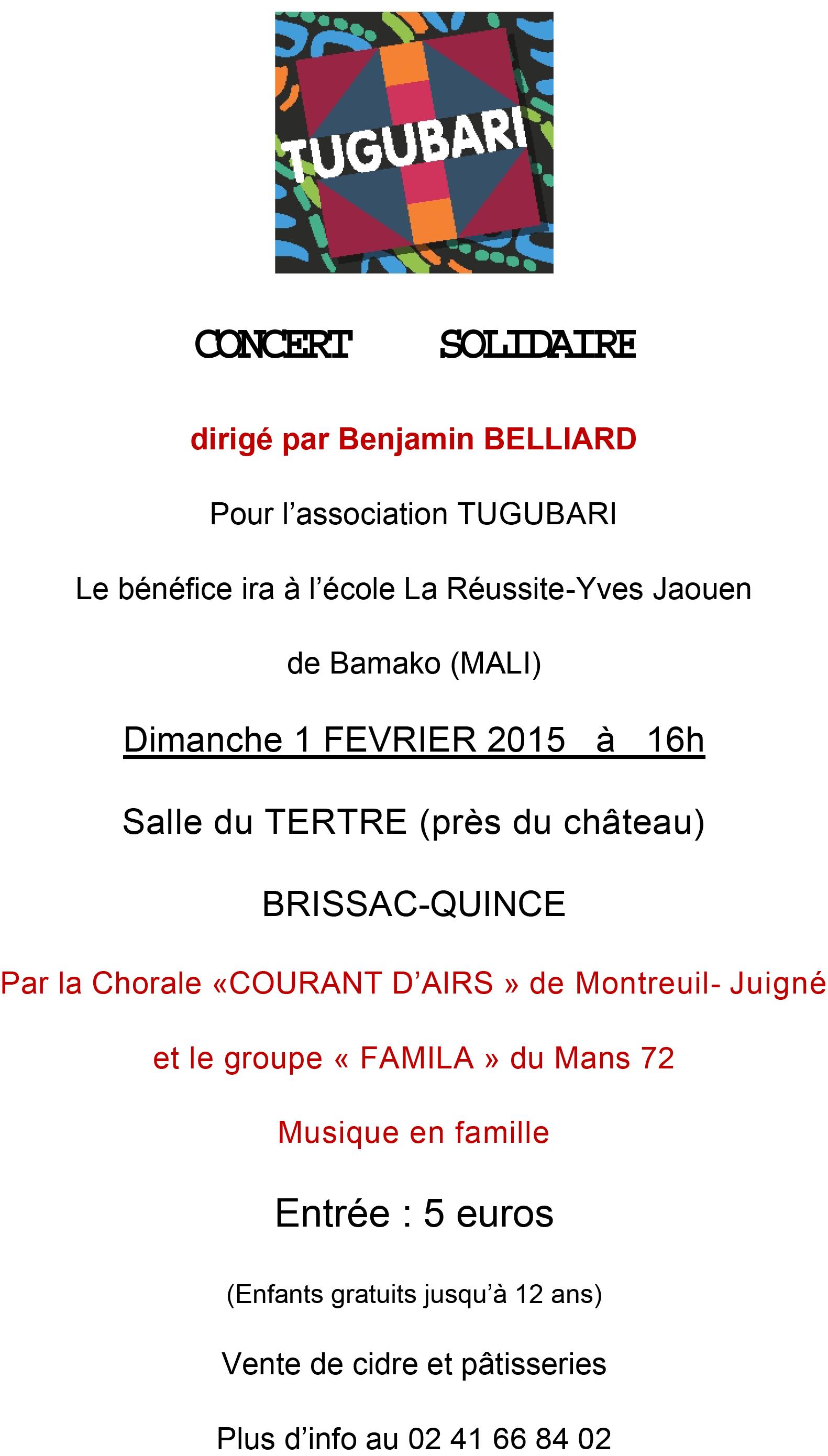 Concert solidaire à Brissac-Quincé, Maine-et-Loire