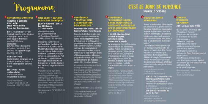 Programme du Mariage Malien à Angers, Maine-et-Loire
