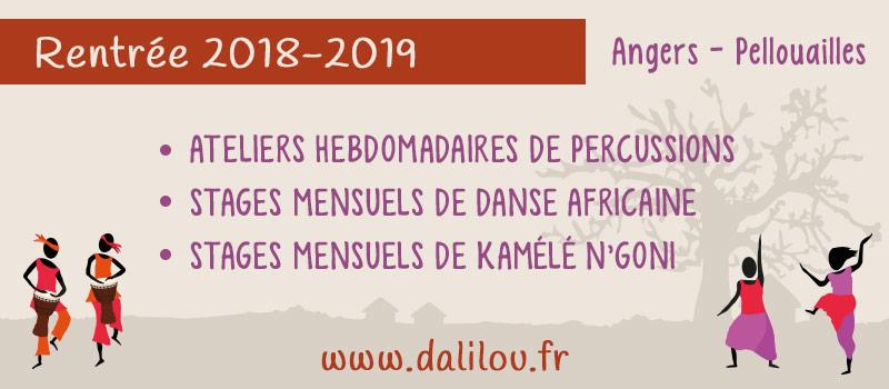Dalilou 2018-2019 : stage de danse africaine, percussions africaines et Kamélé N'goni
