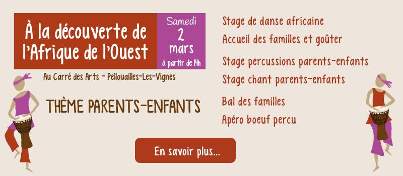 Stages de danse, percussions et chant – Afrique de l'Ouest : parents-enfants - Angers